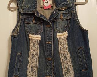 Repurposed denim and lace vest
