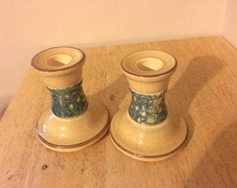 Vintage Pfaltzgraff Pair of Candle Holders. Blue Sponge Pattern