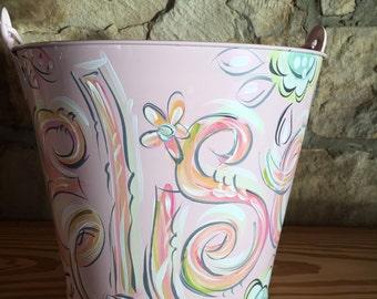 Bucket, Painted Bucket, Personalized Bucket, Pink Metal Pail, Dakri Sinclair