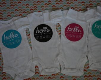 Hello, I'm New Here Bodysuit. Bringing home baby. Arrows. Any color. Coming home outfit. Baby shower gift