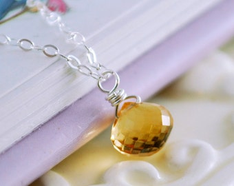 Citrine Birthstone Necklace Child Children Girl Yellow Jewelry Wire Wrapped Solitaire AAA Gemstone Sterling Silver November Birthday