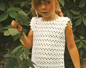 Vintage Girls Dress, Crochet Pattern, 1960 (PDF) Pattern, Coats 1116