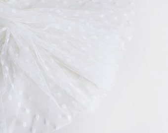 "Ivory spot tulle fabric - 50"" wide - sold per metre"
