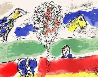 "Chagall original lithograph ""Le fleuve""  printed 1975 by Mourlot  -b"