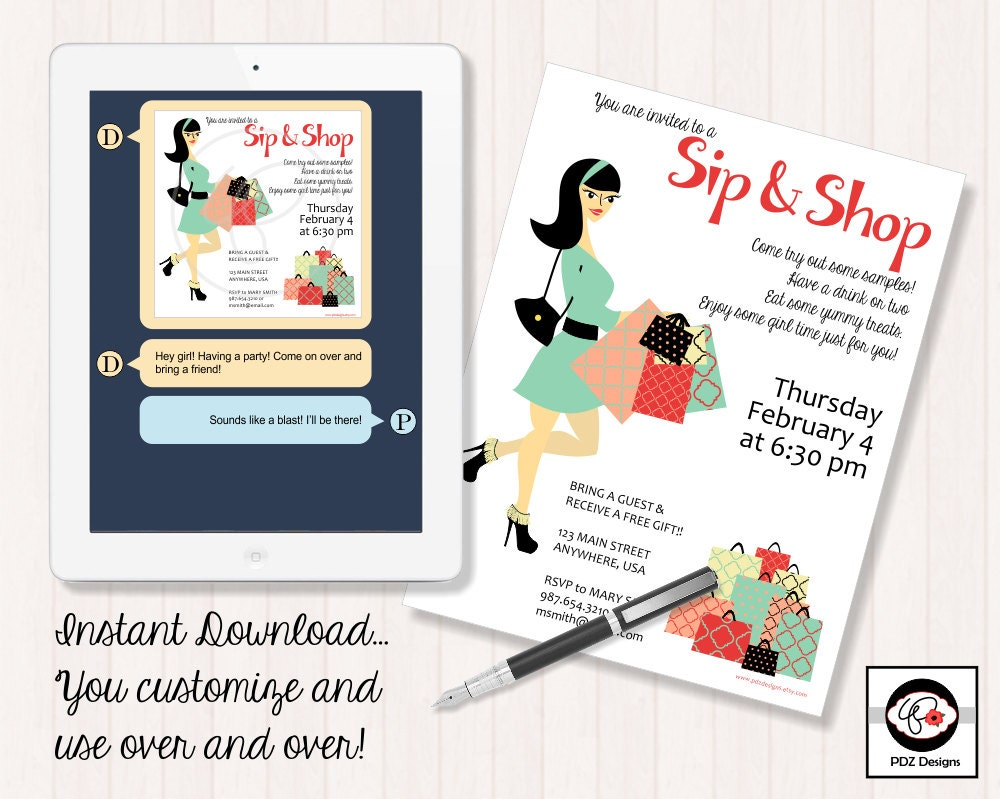 Sip & Shop Invitation Business Party Invitation Makeup