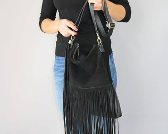 FRINGE BAG, Black leather fringe bag, suede fringe purse, boho suede fringe bag, leather purse,  suede leather shoulder bag in black