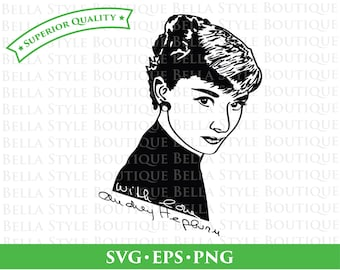Audrey Hepburn and Signature svg cut file