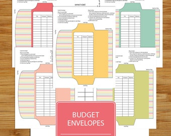 Cash Envelopes Set of 5  - Printable Budget Envelopes - Budgeting Envelopes - Coordinates with Money Budget and Bills MUTED COLORS Set  MBB1