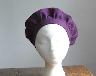 renaissance muffin cap hat medieval caul purple linen renaissance faire -ready to ship-