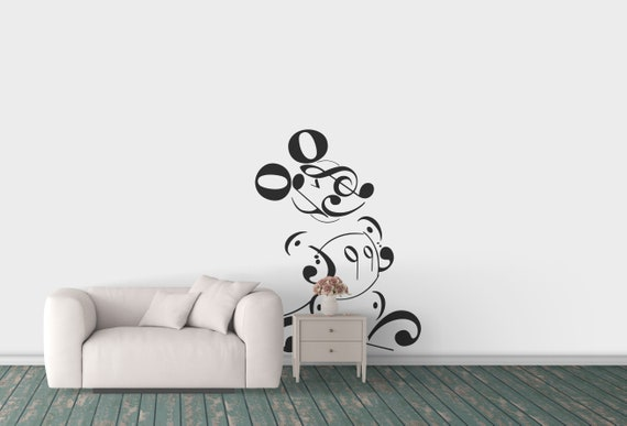 Musical Typography Mouse Wall decal - Interior Design Vinyl Decal / Sticker for wall decor, Mice, Adorable Mouse, Music Lovers, Fantasy