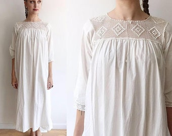 Antique Edwardian Cotton and Crochet Dress/Cotton Chemise/Nightgown/Long Sleeve 1900's, 1910;s