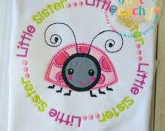 Little Sister Circle saying Machine Embroidery Applique Design