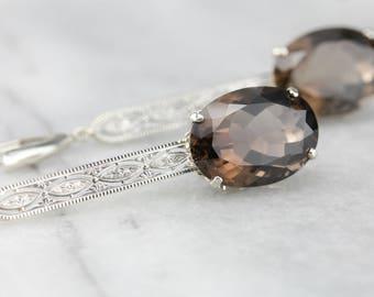 Smoky Quartz Gemstone Earrings, Gold Filigree Drop Earrings, Bridal Jewelry WA424A-R