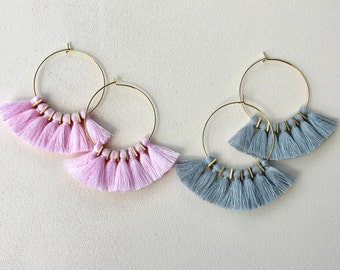 "54 Colors/ Extra Mini Tassel Earrings/ 1.75"" Gold Hoops/ Tassel Earrings/ 0.5"" Cotton Tassels/ Tassel Hoops/ Lightweight"