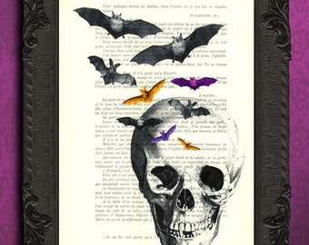 Skull print, skull with bats dictionary art print, skull decorations, art, mixed media, altered