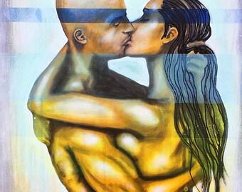 Beyond Physical Original Painting by artist Rafi Perez Mixed Medium on Canvas 18X24