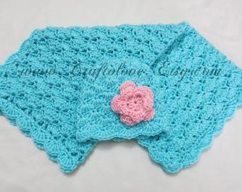 Crochet baby blanket- Baby Girl Shower Gift Set - Baby Girl Blanket - Aqua Shells and flower Hat - Newborn Photography props