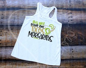 Margaritas and Tacos Cinco de Mayo Embroidered Applique - Bella Racerback Tank Top - MADE TO ORDER