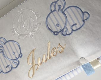 Changing mat personalized with name embroidery bunnies theme travel