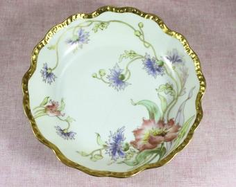 Limoges Elite Serving Bowl, Hand Painted, Artist Signed Flores, Limoges Elite Works SM France, antique early 1900s