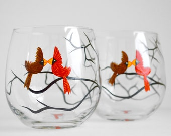 Love Birds Stemless Wine Glasses - Set of 2 Personalized Valentine Glasses - Painted Glasses