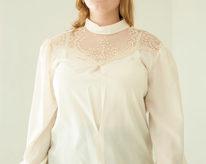 Vintage white lace blouse, long sleeve Victorian-style formal long puffed sleeve shirt top, embroidered sheer, L XL 1970s retro