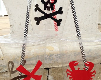 25 Plastic Pirate Party Cups-12 oz