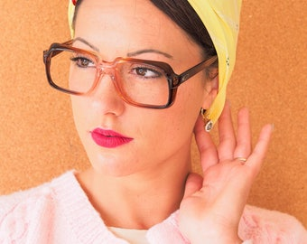 Vintage 70s Eyeglass Square/New Old Stock/Frames/Multicolor/ Made In Hong Kong/ Thick Eyeglasses/ Cheap/ Size 52-20