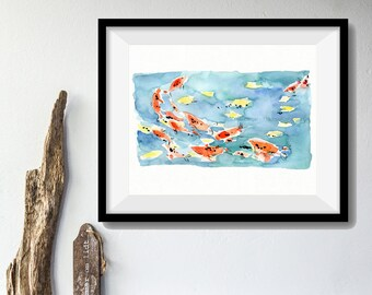 Koi Pond art Print/ Koi watercolor print/ Koi pond watercolor/ Abstract art/ colorful bright fun print/ blue water/ orange/ home decor