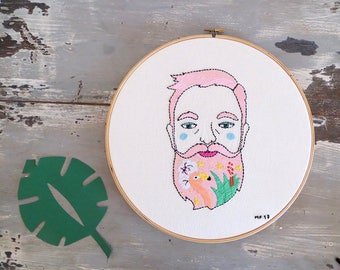 Hoop Art Hipster Pink, Embroidery art, Embroidery illustration, Hand embroidery, Modern wall hanging, modern embroidery.