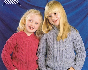 Boy's and Girl's Child's Aran Sweater Pullover Jumper with Collar Size 61 to 76 cm (24 to 30 inch) Lister Lee 1946 Vintage Knitting Pattern