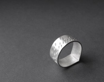 Sterling Silver Ring, Stamp Patterned Ring, Rain Patterned Ring, One of A Kind Ring, Silver Band Ring, Minimalist Ring