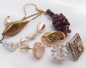 Jewelry Lot of 8 Single Earrings Posts and Ear Wires for Pierced Ears Garnet Beads Rhinestone Faux Pearls