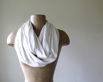IVORY Infinity Scarf -  Lightweight Jersey Blend Circle Scarf - Handmade Loop Scarf with Flecks of Oatmeal