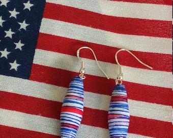 Patriotic Paper bead earings