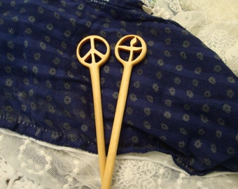 Set of Peace Sign  and Flaming Chalice Chopstick Hair Sticks from Reclaimed Yellowheart Wood Gifts Under 50 Dollars