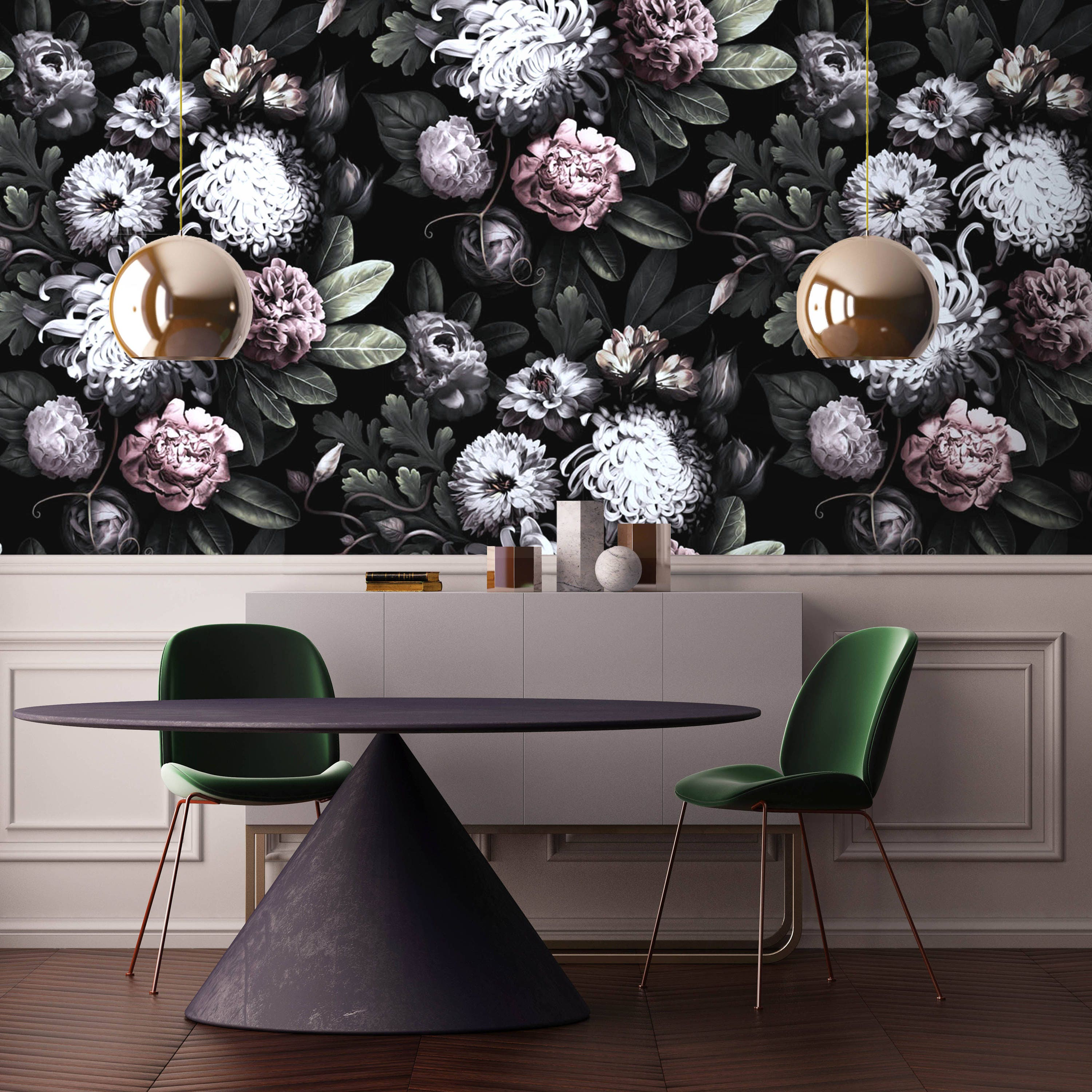 Dark Floral Wallpaper Peony Wallpaper Black Floral
