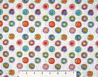 Happy Catz Fabric - Large Polka Dot Toss Beige - Red Rooster YARD