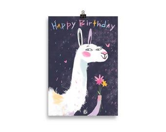 Birthday Lama Poster