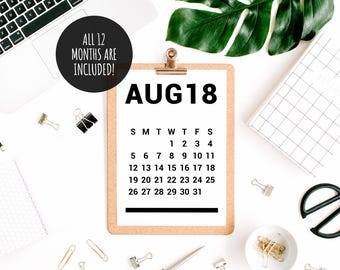 2018 Calendar, Desk Calendar PDF Download, Printable Calendar 2018, Digital Monthly Wall Calendar, Calendar Poster, 2018 Yearly Wall Planner
