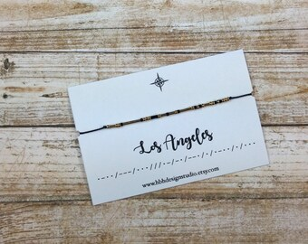 LOS ANGELES 24K Gold Morse Code Bracelet CITIES Collection -  Delicate; Minimalist; Simple; Friendship; Wish; Gold; Inspirational; Dainty