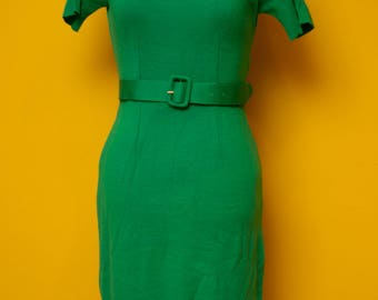 Vintage 1950's Knit Short Sleeve Green Pencil Dress Made in Italy Size Small