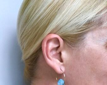 Blue Crystal Earrings, Crystal Hoop Earrings, Baby Blue Earrings, Light Blue Earrings, Aqua Earrings, Bright Blue Earrings, Hoop Earrings