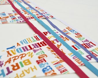 Oil Cloth Happy Birthday Bunting, Party Bunting