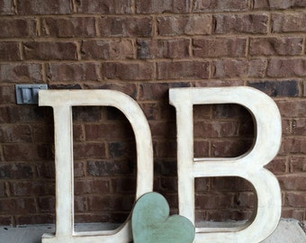 Wedding Initials & heart. Distressed Letter. Word Art. Letter Art.Typography. Industrial