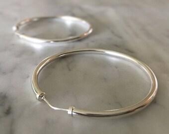 Sterling Silver Hoop Earrings - Large Medium Hoops - 925 - Simple Jewelry - Minimalist Modern Jewellery - Boho