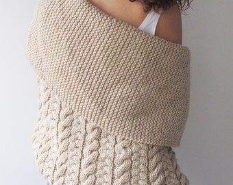 Ecru Cable Knit Cardigan by Afra