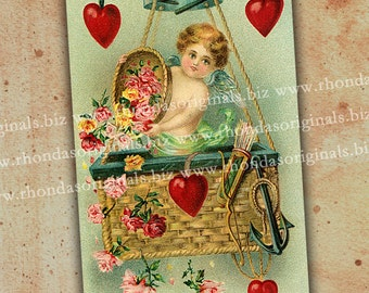 Valentine Postcard Cherub In Hot Air Balloon Digital INSTANT Download - ATC Aceo Scrapbooking Card Making Tags Paper Art And Crafts PC3PC
