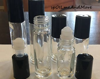 NEW Lot of (6) Rollerball Roll On GLASS Bottles in 10ml & 5ml Clear Glass for Essential Oils or Perfume