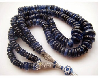 Blue Kyanite, Kyanite Beads, Faceted Rondelle Beads, Faceted Kyanite, 20mm To 7mm Each, 14 Inch Strand, 100 Pieces Approx